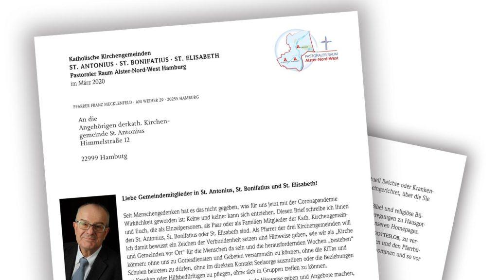 Brief von Pfarrer Mecklenfeld an die Gemeinden St. Antonius, St. Bonifatius und St. Elisabeth