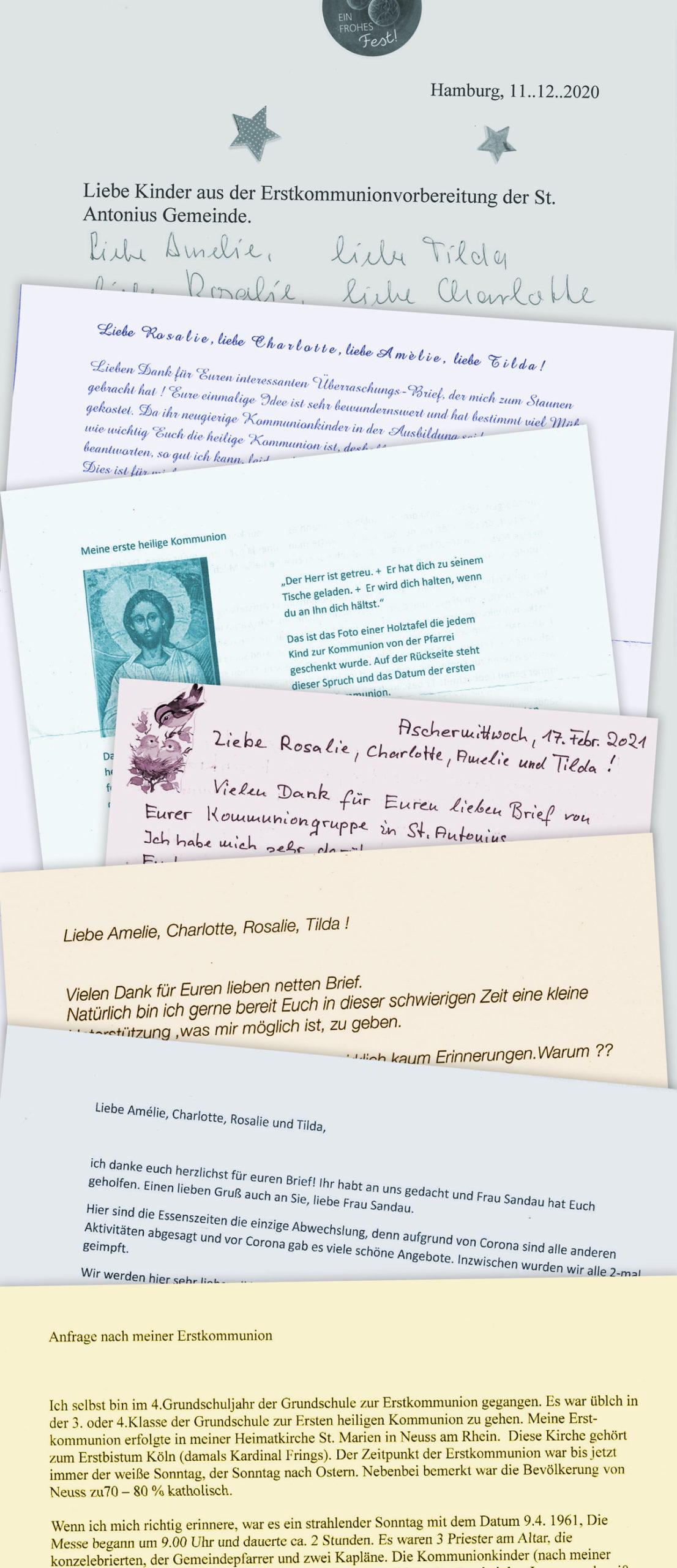 Briefe an die Kommunionkinder Amélie, Charlotte, Rosalie und Tilda